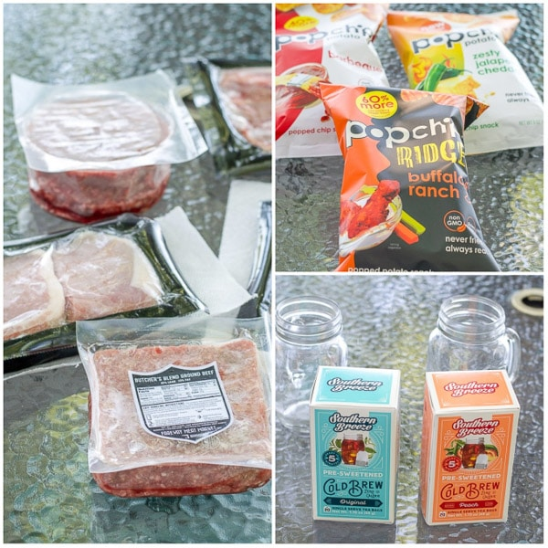Meats, popchips and Iced tea bags for the avocado dressing