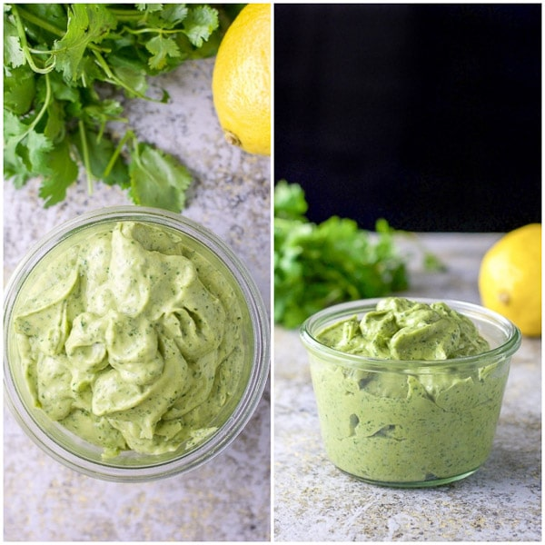 overhead and side view of the cilantro dressing