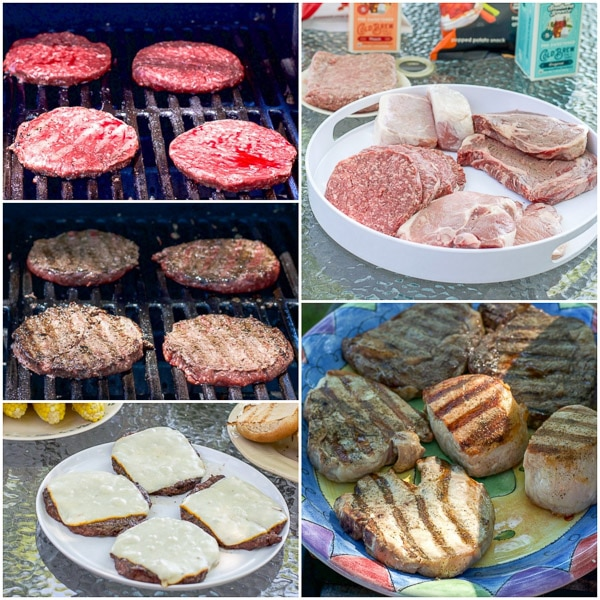 collage of the burgers cooking, with cheese, the raw meat on a plater and then cooked