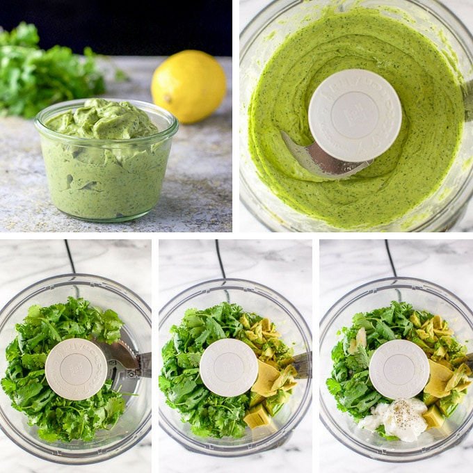 Collage of the dressing in a jar, the food processor with the ingredients and then whipped