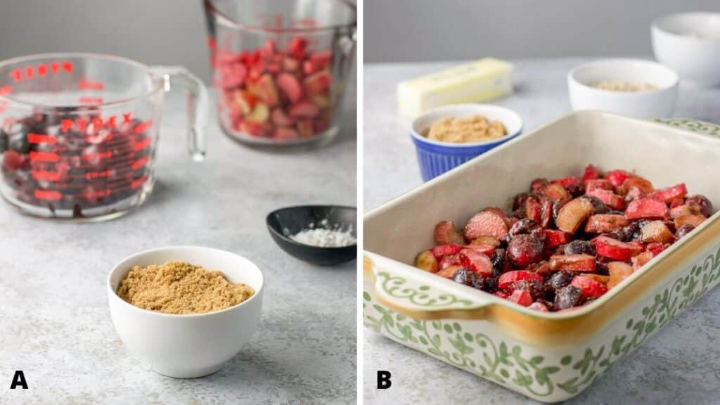 On the left - dry ingredients plus the cut up rhubarb and pitted cherries, on the right - the cherry rhubarb mixture in the baking dish with oats in the background