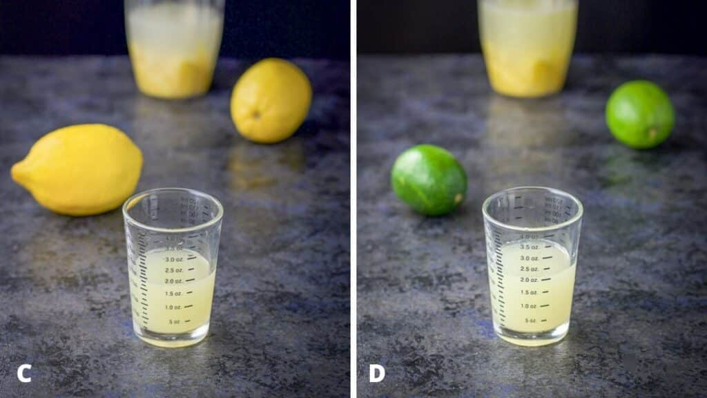 Lemon and lime juice measured out with the blender container and lemons and limes in the background