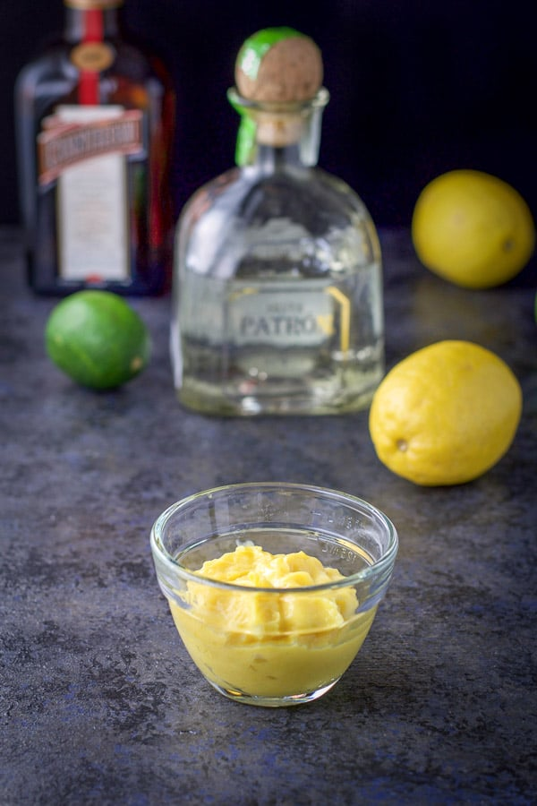 Lemon curd, tequila, cointreau, two lemons and a lime