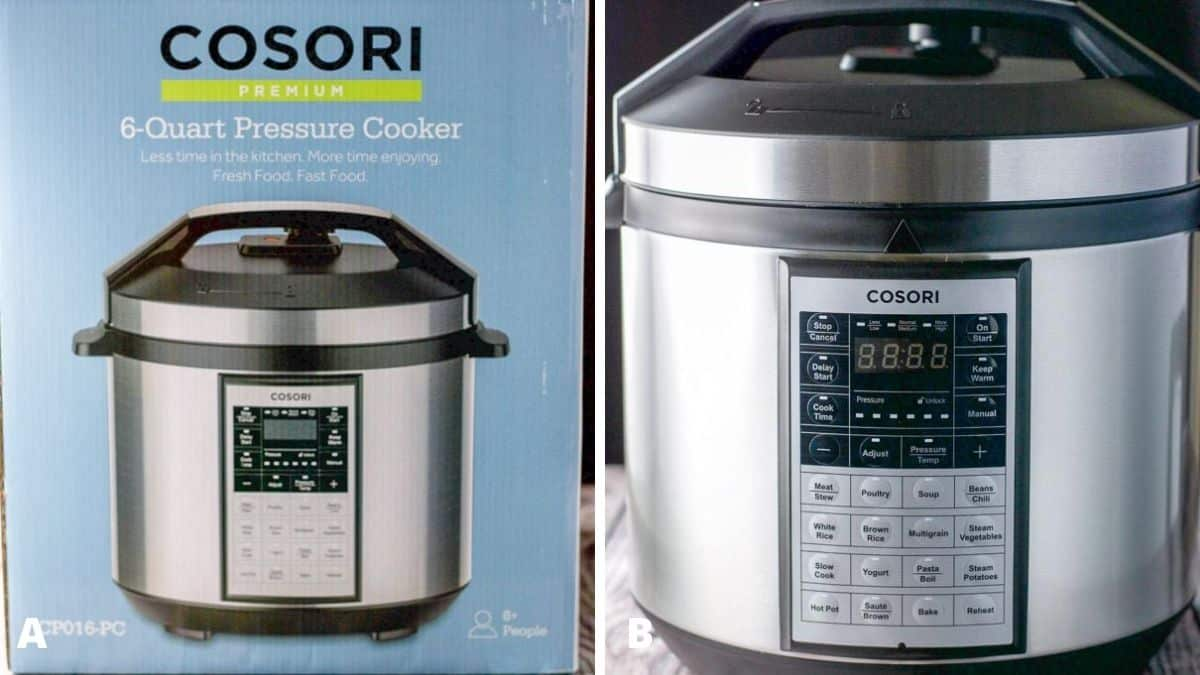 pressure cooker in the box and then taken out and put on a table