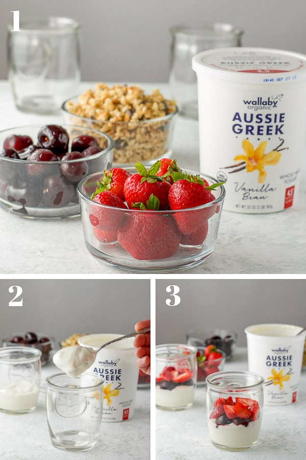 Top photo -Strawberries, cherries, yogurt and granola. Bottom left - a spoon of yogurt held over a glass and bottom right - fruit layered on the yogurt