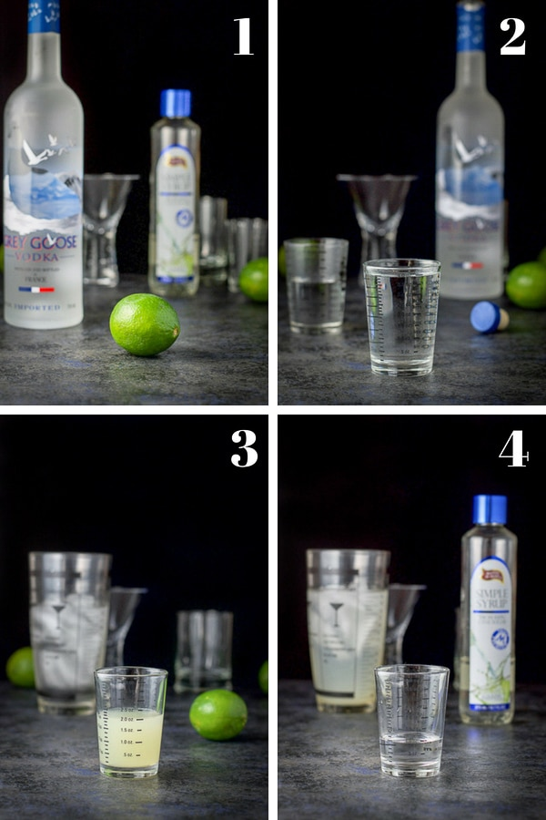 Vodka, limes, simple syrup, measuring glass and glasses. Vodka, lime juice and simple syrup poured out for the drink