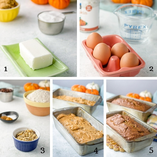 recipe ingredients including brown sugar, sour cream, block of cream cheese, four eggs, can of pumpkin puree, flour, nuts, batter in a bread loaf pan and cooked bread in bread loaf pan
