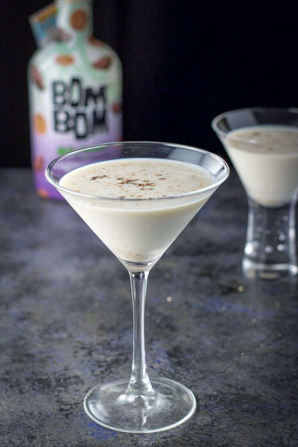 Nutmeg sprinkled on top of the creamy cocktails