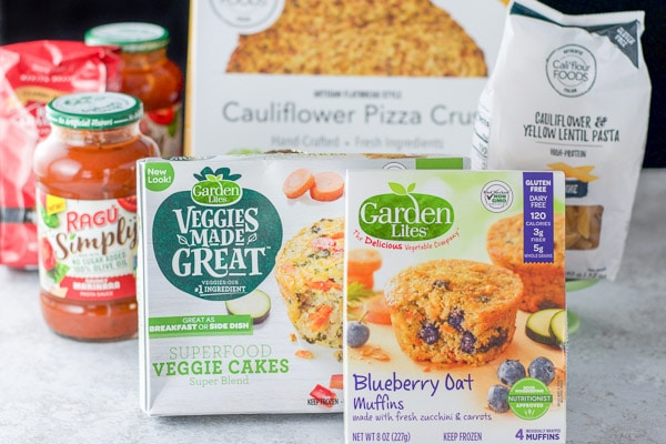 All the boxed ingredients for the cauliflower crust pizza
