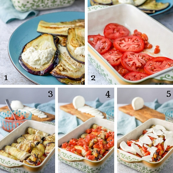 Slices of eggplant with ricotta mixture on top, whole tomato slices lining bottom of casserole dish, and eggplant rollatini setups nestled into casserole dish, and covered with diced tomatoes and pieces of mozzarella cheese slices.
