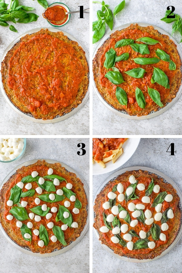 Collage for the Process shots for the Cauliflower Crust Pizza