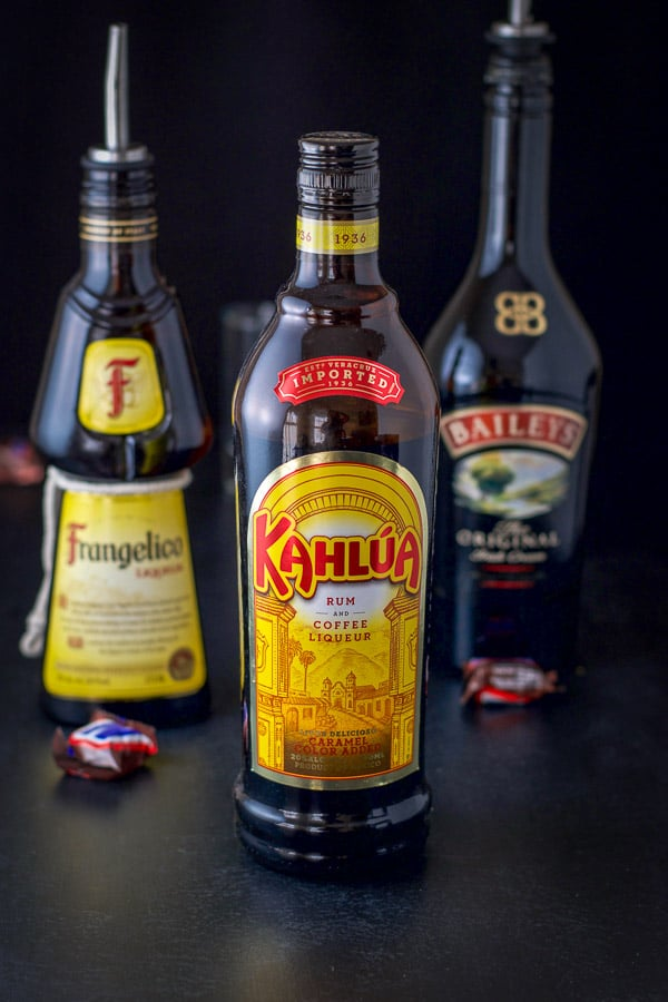 Kahlúa, Frangelico and Baileys for the shot