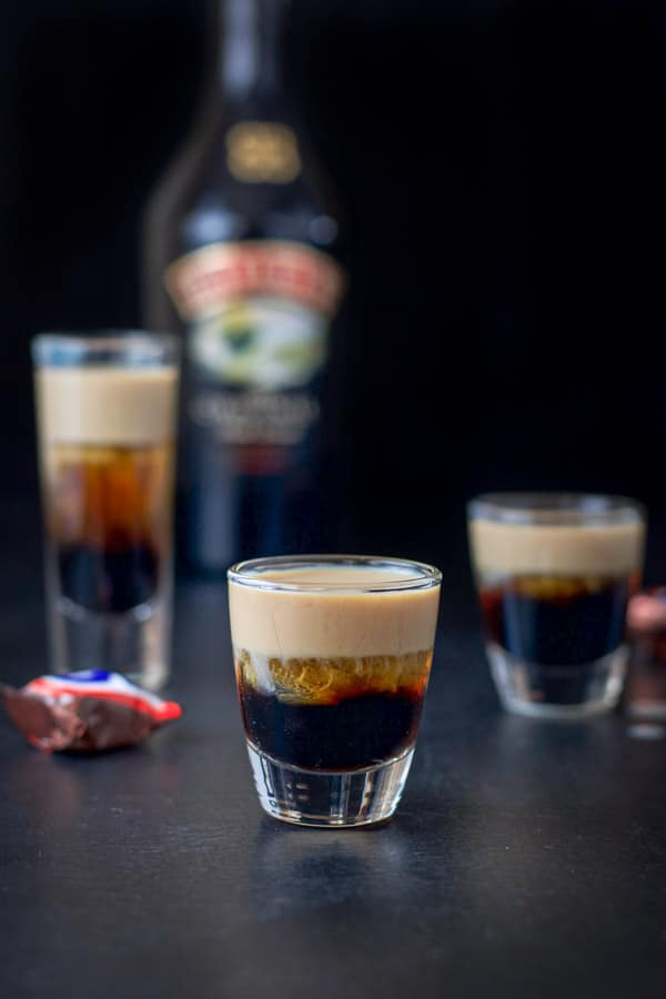 Baileys layered in the three glasses