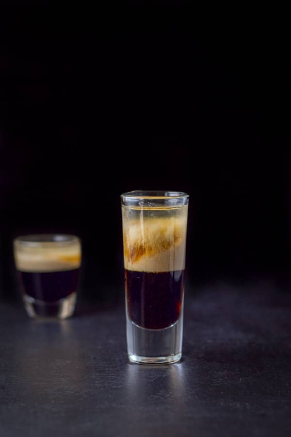 A different view of the black forest cake shot