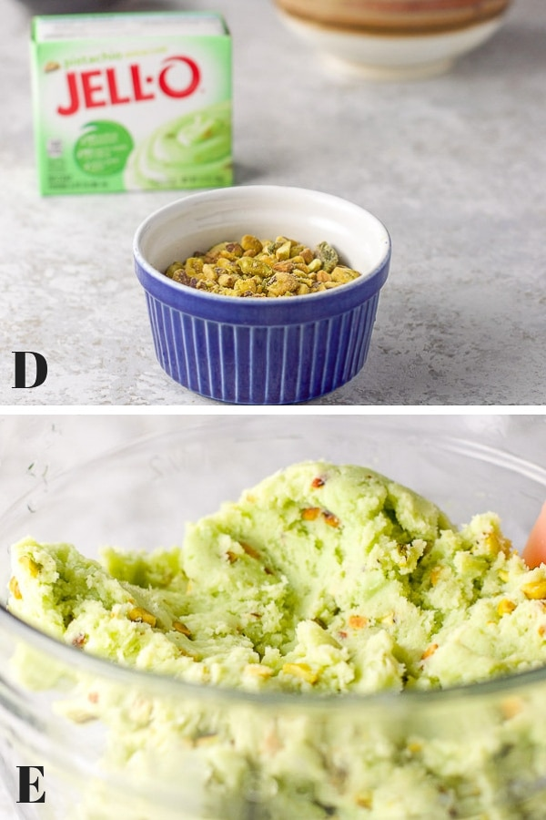 pistachios, pudding mix and flour in the top photo and the dough mixed together in a glass bowl