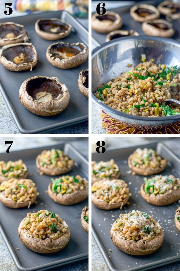 mushrooms on a pan with the farro stuffing in a bowl. Then stuffed in the mushrooms and sprinkled with cheese