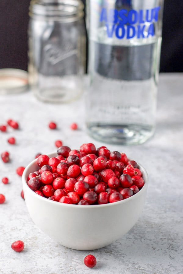 Fresh cranberries in a white bowl and vodka bottle and a jar in the background