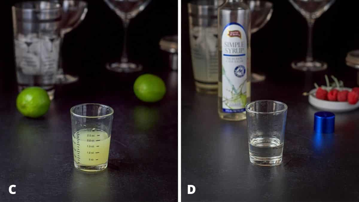 Lime juice and simple syrup measured out with the lime and bottle in the background