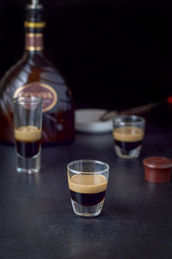chocolate liqueur poured for the peppermint patty shot