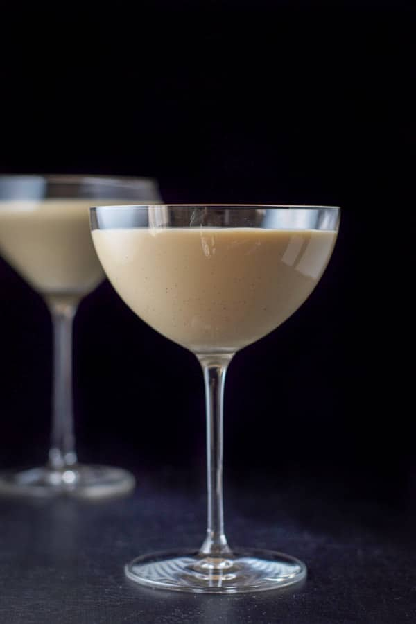 Vertical view of the chocolate eggnog martini
