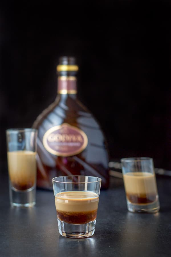 Chocolate liqueur layered into the glasses