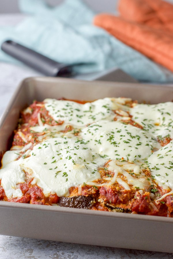 Eggplant parmesan fresh out of the oven