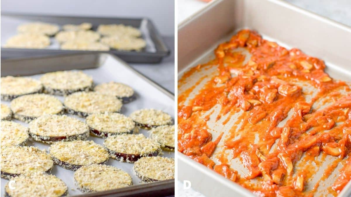On the left - breaded eggplant on jelly roll pans. On the right - sauce in the pan
