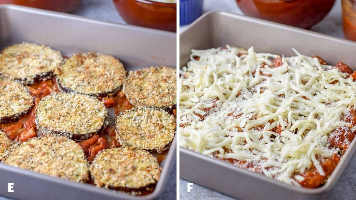 On the left - Baked eggplant on the red sauce and on the right, sauce and cheese on top