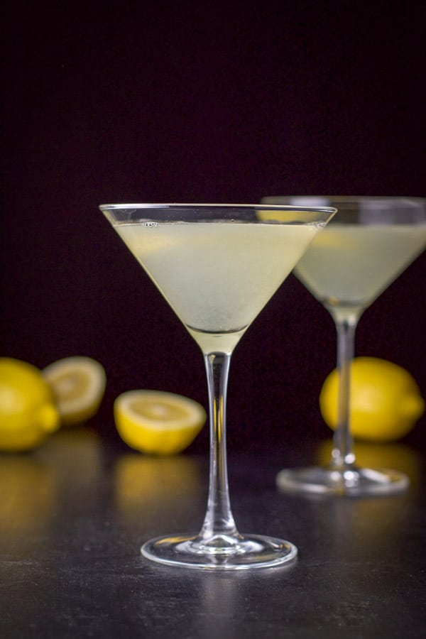 Vertical view of the lemon martini with the smaller glass in front