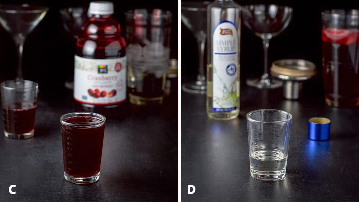 Cranberry juice and simple syrup poured out with the bottles in the background