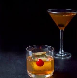 The bourbon Manhattan in a rocks glass and martini glass