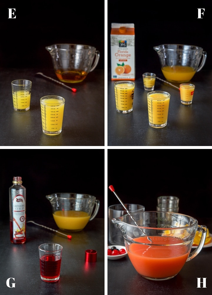 Pineapple juice, orange juice, grenadine poured out and mixed in a bowl with a cocktail spoon