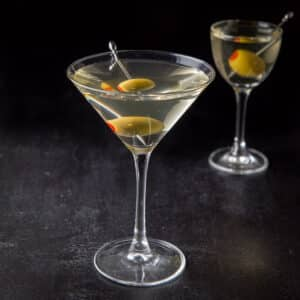 Classic glass of the vodka martini - square