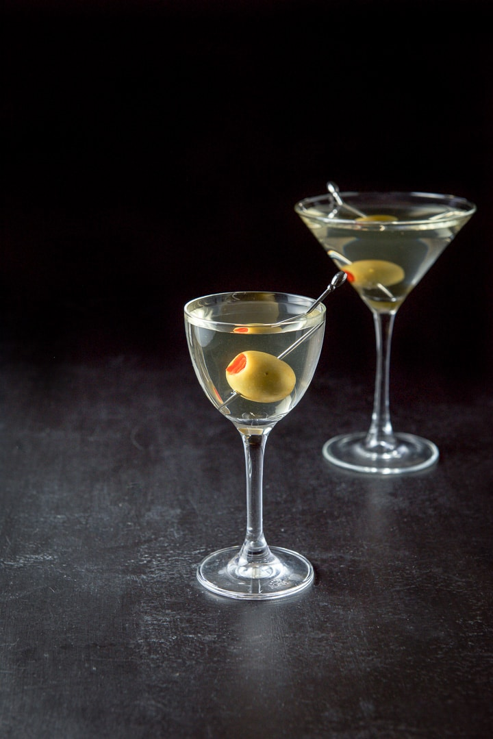 Another view of the smaller glass with the martini in front and the classic glass in the background