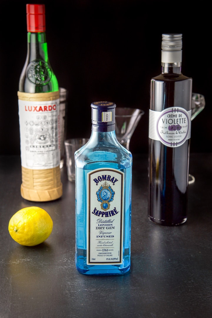 Gin, lemon, creme de violette and maraschino liqueur for the aviation cocktail recipe