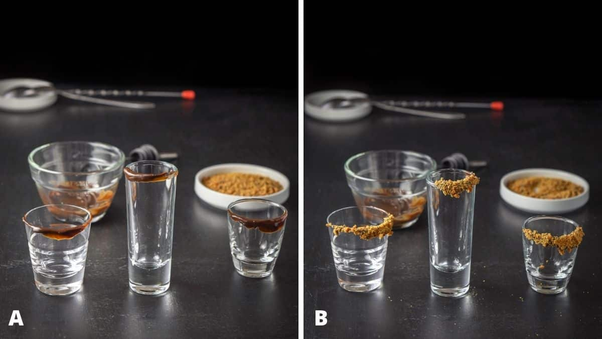 On the left - chocolate sauce on the rims of the shot glasses. On the right - candy added to the chocolate sauce on the rim for garnish