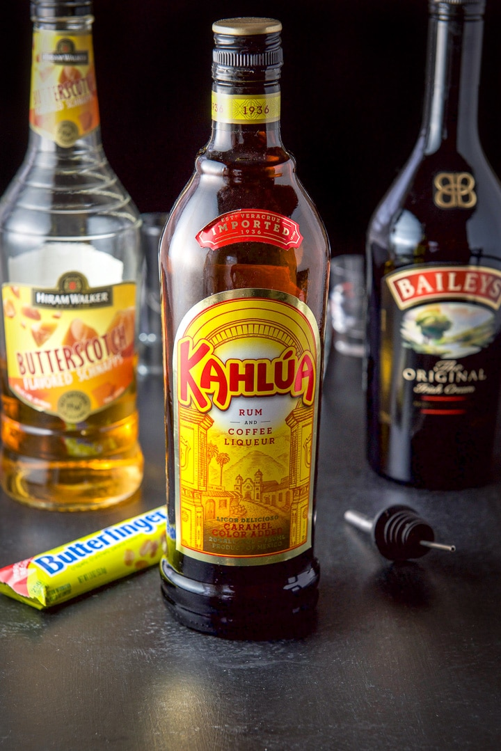 Kahlua, butterscotch schnapps and Baileys Irish cream for the Butterfinger shot