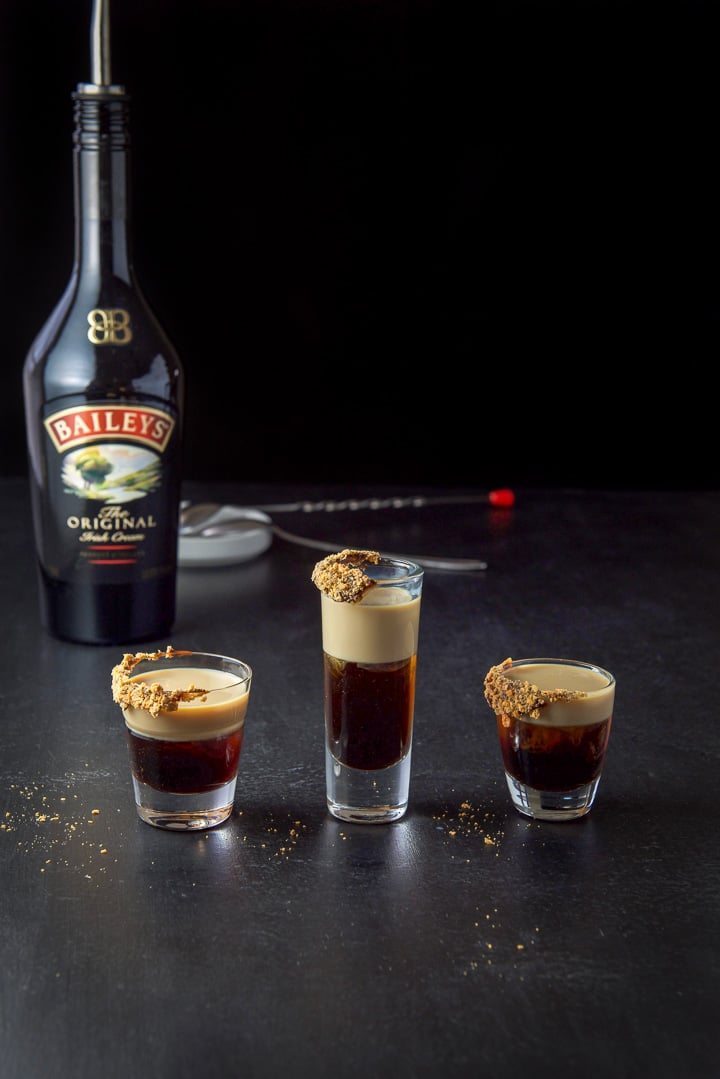 Baileys layered in the Butterfinger shot