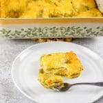 A forkful of chile relleno casserole on a plate