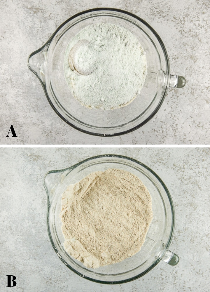 Above - Dry ingredients in a glass bowl and below - dry ingredients mixed together