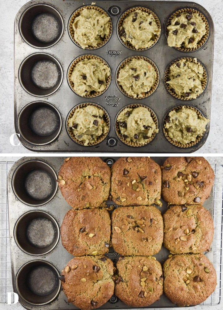 Above - Batter in the pan and below - muffins baked but still in the pan