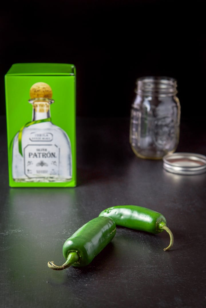 Jalapeños, tequila and a jar for the infused tequila