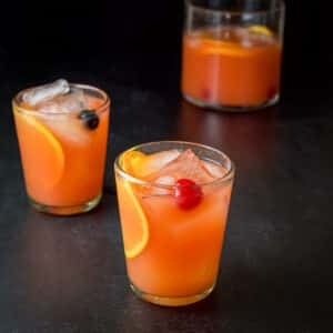 Two glasses filled with the scorpion bowl recipe - square