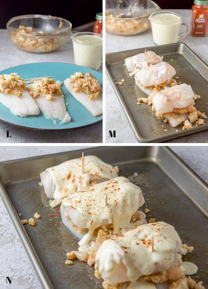 White fish with stuffing, then rolled up on a pan and sauce on top