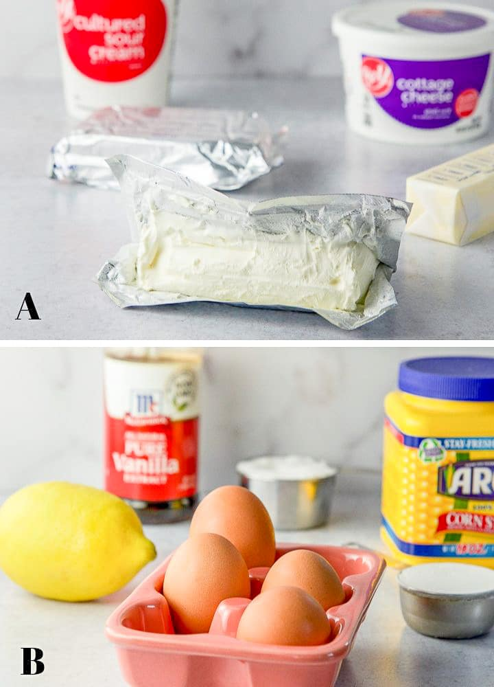 Containers of sour cream, cottage cheese, corn starch and vanilla; measuring cups of sugar and flour; a couple blocks of cream cheese, a stick of butter, a lemon, and four eggs.