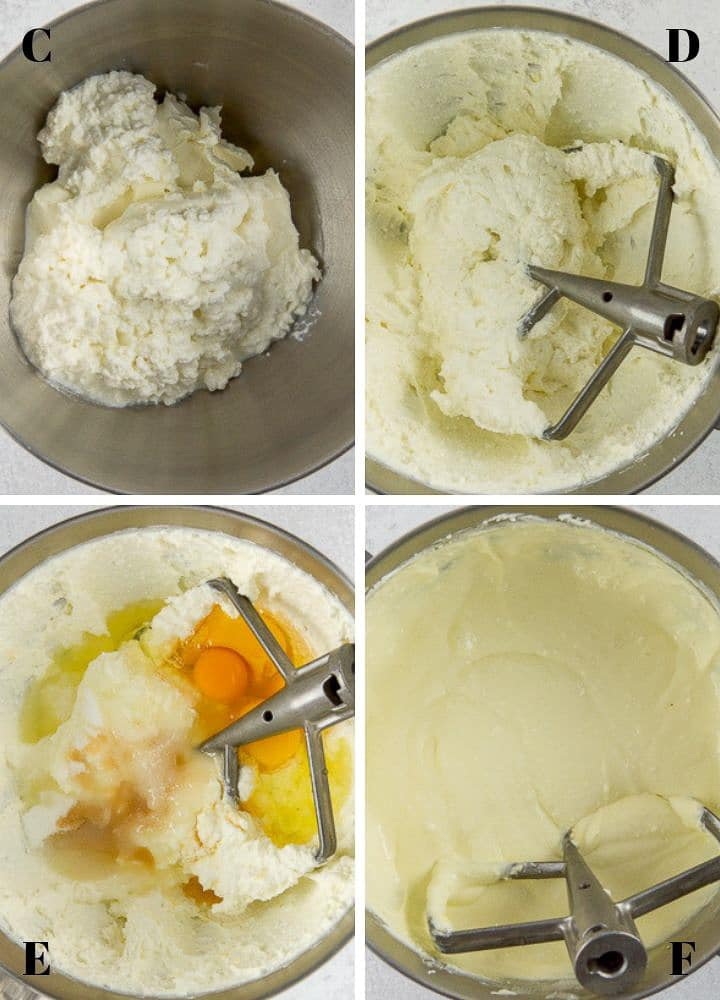 Four mixing bowls viewed from above containing 1) cream cheese and cottage cheese, 2) the two mixed together, 3) this mixture with sugar, vanilla, fresh lemon juice and eggs added and 4) the new mixture fully blended.