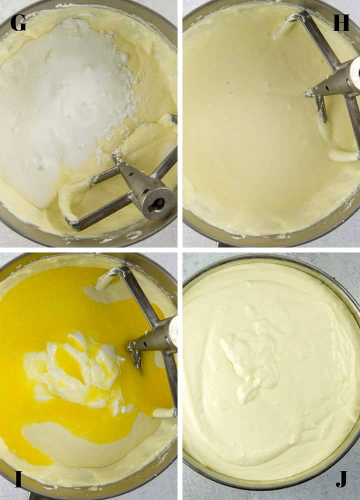Viewed from above are three mixing bowls with 1) cheesecake mixture with flour, corn starch and sugar added, 2) these ingredients combined, and 3) the new mixture with sour cream and melted butter added and 4) all ingredients fully mixed and transferred to a springform pan.