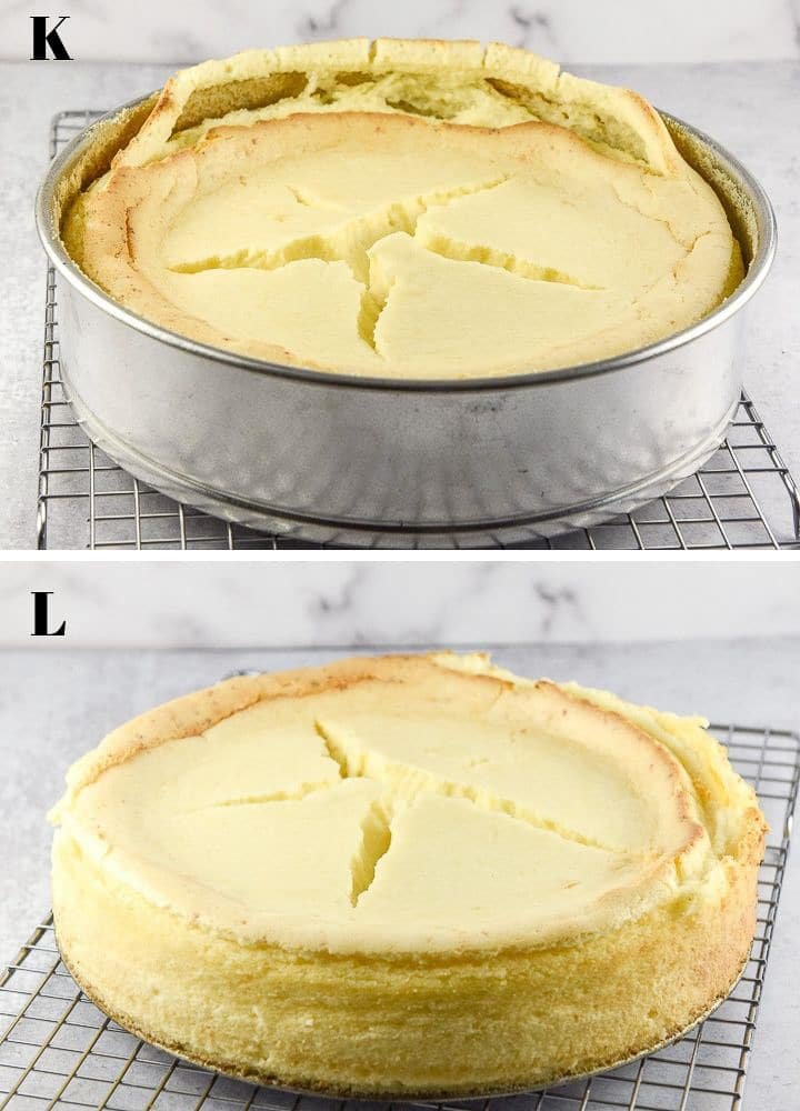 View of cooled cheesecake settled into the springform pan with cracks across the middle and view of the cheesecake on the cooling rack, out of the pan.