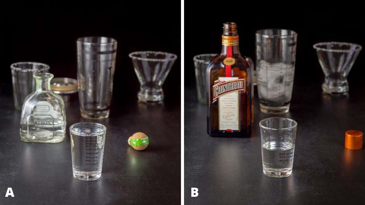 Tequila and Cointreau poured out with bottles, shakers and glassware in the background