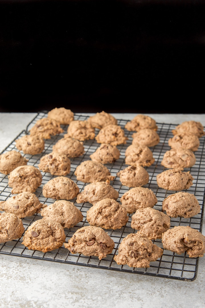 cream cheese cookies cooling on a wire rack